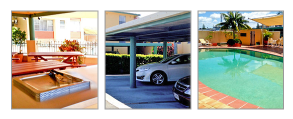 barbecues, under cover parking and saltwater pool